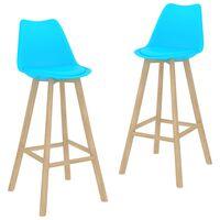vidaXL Barski stolčki 2 kosa modri PP in trdna bukovina