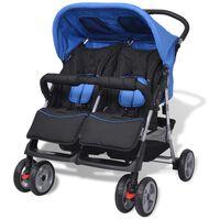 vidaXL Dvojni otroški voziček jeklo moder in črn