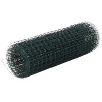 vidaXL Žična mreža za ograjo jeklo s PVC oblogo 10x0,5 m zelena