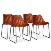 vidaXL Jedilni stoli 4 kosi rjavo pravo usnje