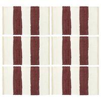 vidaXL Pogrinjki 6 kosov Chindi črte bordo in beli 30x45 cm