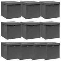 vidaXL Škatle za shranjevanje s pokrovi x 10 sive 32x32x32 cm blago