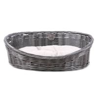 D&D Rustikalna postelja za hišne ljubljenčke z blazino M ratan siva