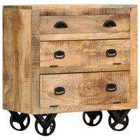 vidaXL Stranska omarica s kolesi 70x40x75 cm trden mangov les