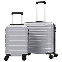 vidaXL Trdi potovalni kovčki 2 kosa srebrni ABS