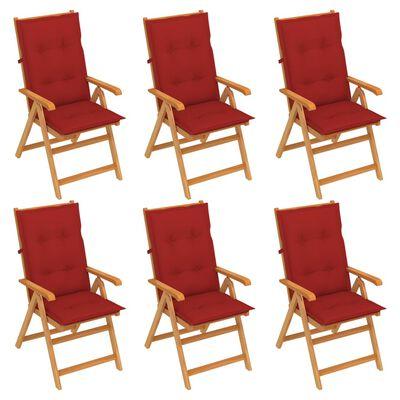 vidaXL Vrtni stoli 6 kosov z rdečimi blazinami trdna tikovina
