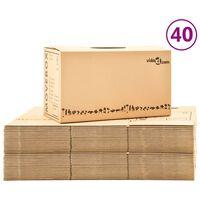 vidaXL Kartonske škatle XXL 40 kosov 60x33x34 cm