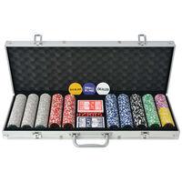 vidaXL Poker Set s 500 Laserskimi Žetoni Aluminij