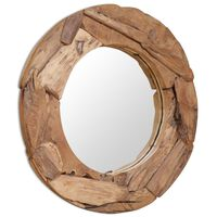 vidaXL Okrasno ogledalo tikovina 80 cm okrogle oblike