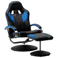 vidaXL Nastavljiv športni stol s stolčkom za noge modro umetno usnje