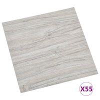 vidaXL Samolepilne talne plošče 55 kosov PVC 5,11 m² svetlo sive