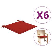 vidaXL Blazine za vrtne stole 6 kosov rdeče 50x50x4 cm blago