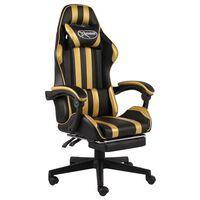 vidaXL Racing stol z oporo za noge črno in zlato umetno usnje