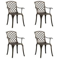 vidaXL Vrtni stoli 4 kosi liti aluminij bronasti