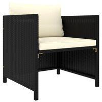 vidaXL Vrtni kavč z blazinami črn poli ratan