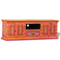 vidaXL TV omarica iz masivnega mangovega lesa roza ročno barvana