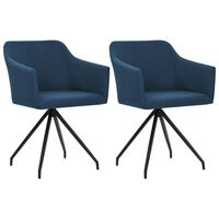 vidaXL Vrtljivi jedilni stoli 2 kosa modro blago