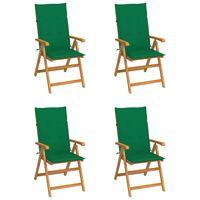 vidaXL Vrtni stoli 4 kosi z zelenimi blazinami trdna tikovina