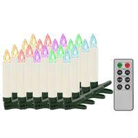 vidaXL Božične brezžične LED svečke z daljincem 20 kosov RGB