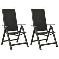 vidaXL Zložljivi vrtni stoli 2 kosa tekstil in aluminij črni
