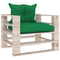 vidaXL Vrtni kavč iz palet z zelenimi blazinami borovina