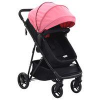 vidaXL Otroški voziček 2 v 1 roza in črn jeklo