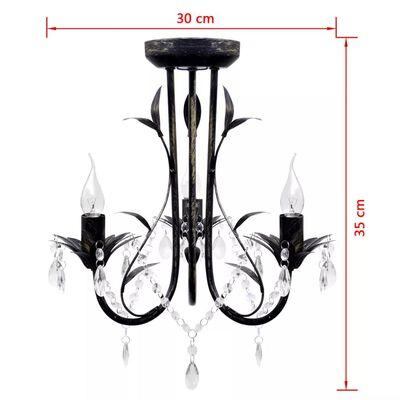 Dekorativni Art Noveau Stil Črni Kovinski Lestenec s Kristali 3 x E14