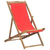 vidaXL Zložljiv stol za na plažo trdna tikovina rdeč