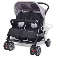 vidaXL Dvojni otroški voziček jeklo siv in črn