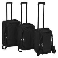 vidaXL Potovalne torbe na kolesih 3 delni komplet črne barve