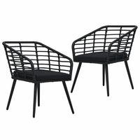 vidaXL Vrtni stoli z blazinami 2 kosa poli ratan črne barve