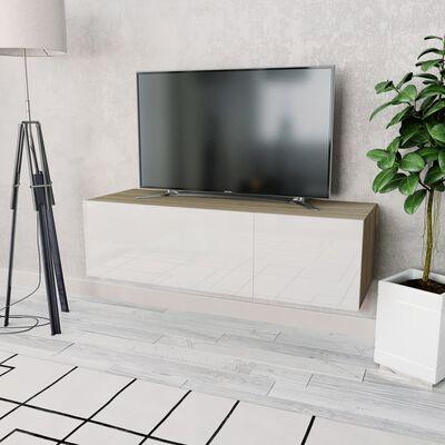 vidaXL TV omarica iverna plošča 120x40x34 cm visok sijaj bela in hrast