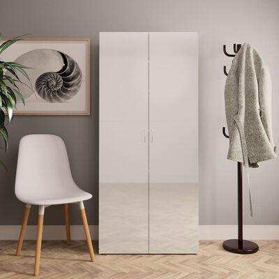 vidaXL Omara za čevlje visok sijaj bela 80x35,5x180 cm iverna plošča