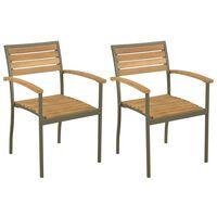 vidaXL Zunanji stoli 2 kosa trden akacijev les in jeklo
