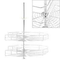 vidaXL Kuhinjska košara 2-nadstropna srebrna vrtljiva 71x71x80 cm