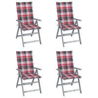 vidaXL Vrtni stoli 4 kosi z blazinami trden akacijev les