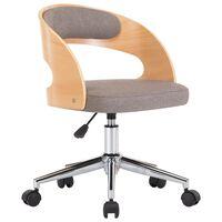 vidaXL Vrtljiv pisarniški stol taupe ukrivljen les in blago