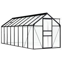 vidaXL Rastlinjak antraciten iz aluminija 9,31 m²