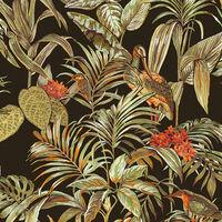 DUTCH WALLCOVERINGS Tapeta Bird-of-Paradise črna