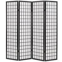 vidaXL Zložljiv 4-delni paravan japonski stil 160x170 cm črne barve