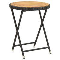 vidaXL Čajna mizica črna 60 cm poli ratan in trden akacijev les