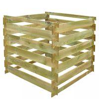 vidaXL Kompostnik 0,54 m3 kvadraten iz lesa