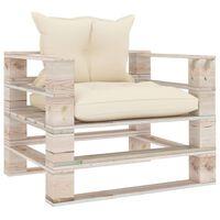 vidaXL Vrtni kavč iz palet s krem blazinami borovina