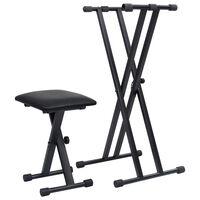 vidaXL Komplet dvojnega stojala in stolčka za klaviature črn