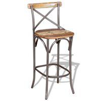 vidaXL Barski stolček iz trdnega predelanega lesa