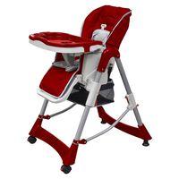 vidaXL Luksuzni stolček za hranjenje z nastavljivo višino bordo barve