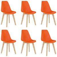 vidaXL Jedilni stoli 6 kosov oranžna plastika