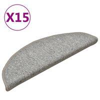 vidaXL Preproge za stopnice 15 kosov svetlo sive 56x17x3 cm