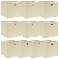 vidaXL Škatle za shranjevanje 10 kosov krem 32x32x32 cm blago