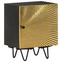 vidaXL Nočna omarica z medeninasto sprednjo stranjo 40x30x50 cm mango